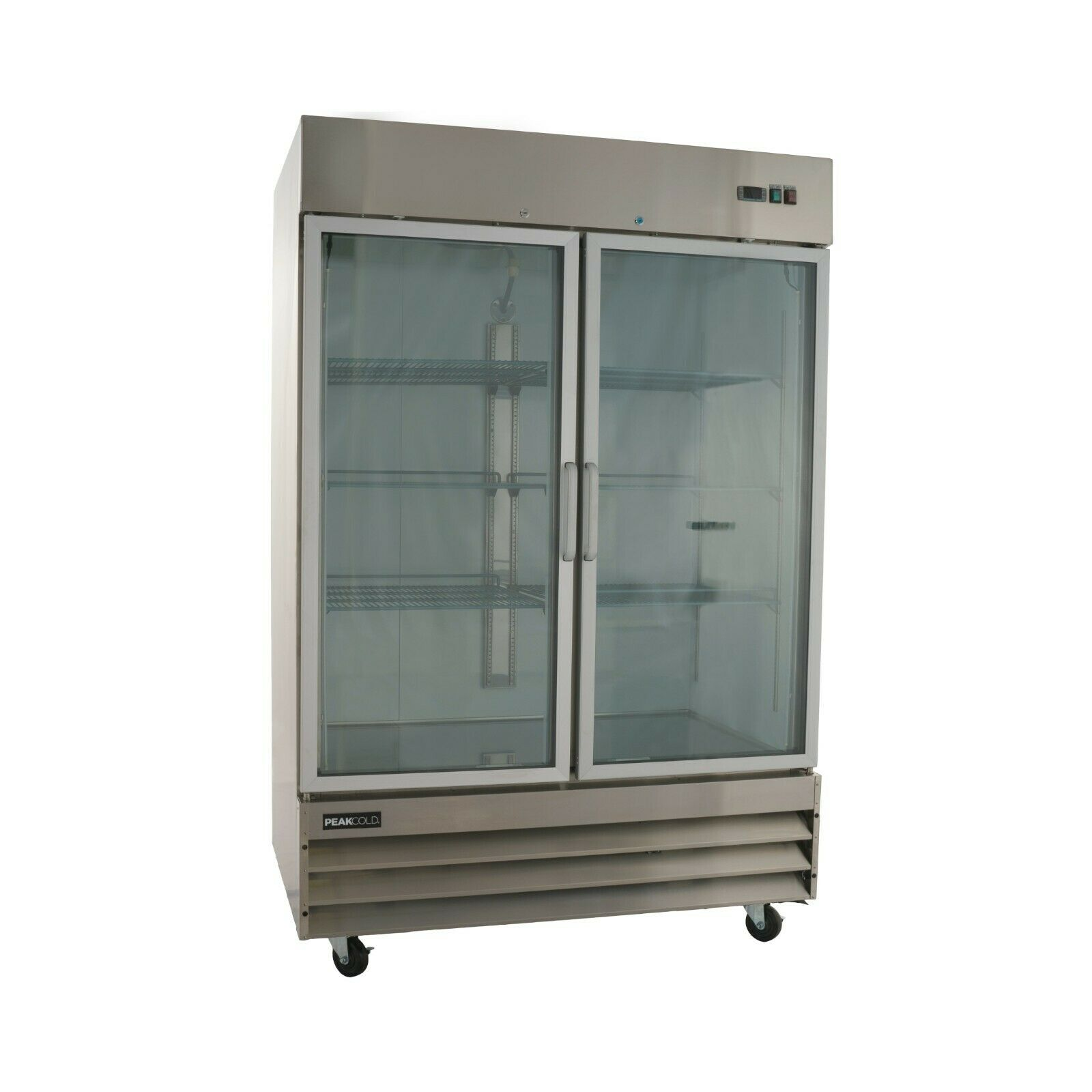 Two Door Glass Front Stainless Steel Commercial Refrigerator Cfd