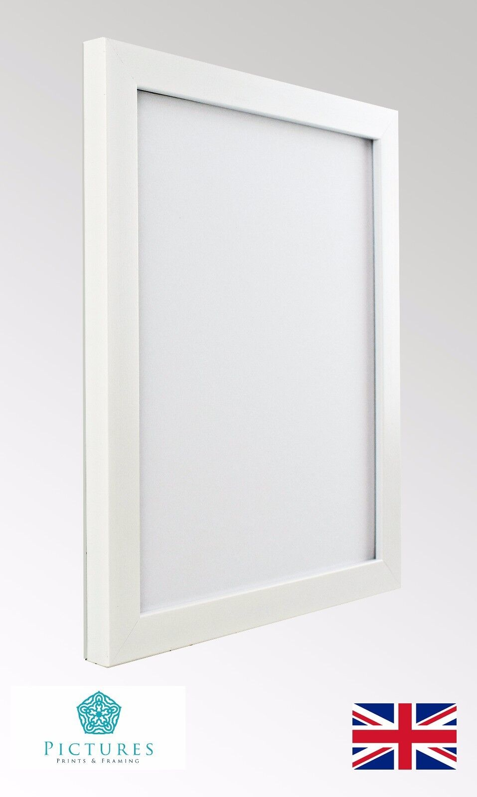 WHITE PHOTO PICTURE Poster Panoramic Frames Various sizes 19mm Range ...