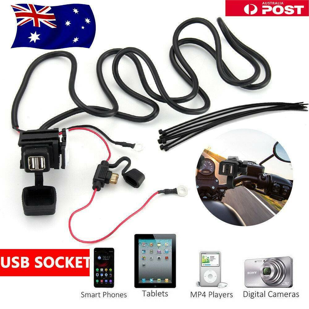 12v 24v Motorcycle Waterproof Dual Usb Charger Phone Power Socket Wiring To 1 Of 11free Shipping