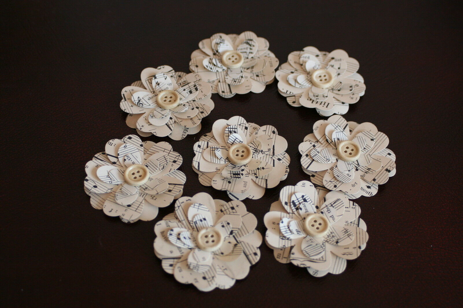 8 Handmade 3d Vintage Music Sheet Paper Flowers With Button Center