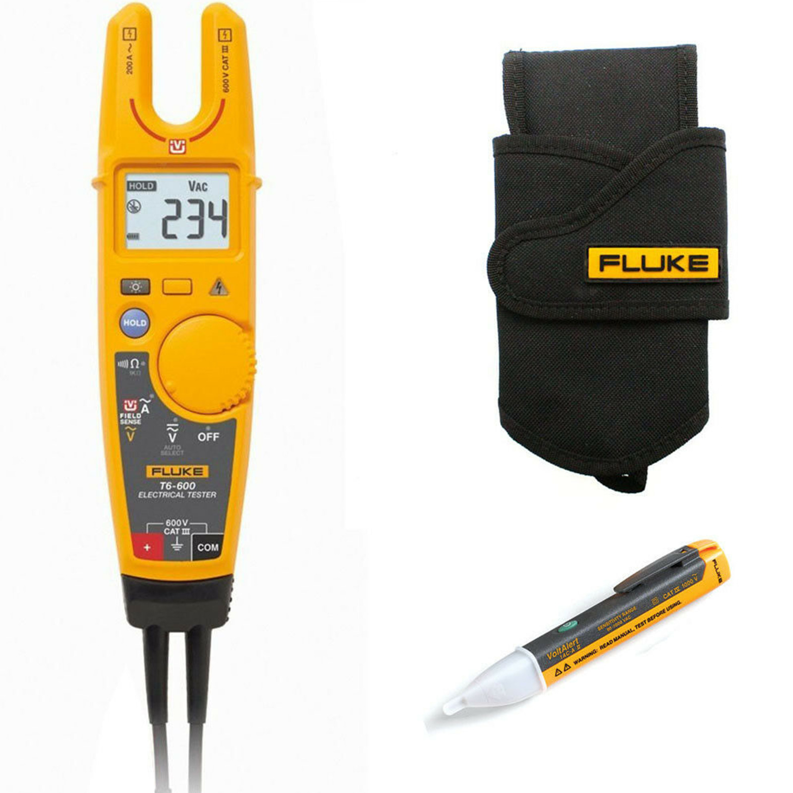 Fluke T6 600 Voltage Continuity Tester Kit4g With H5 Holster And About Ac Detector 90v To 1000v Electrical Live Circuit 1 Sur 2 Voir Plus