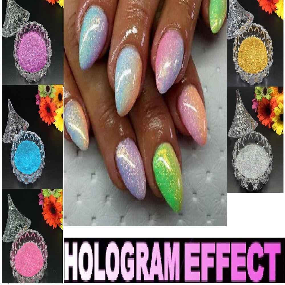 NAIL ART MIRROR Mermaid Chrome Effect Pigment Glitter Dust Powder ...