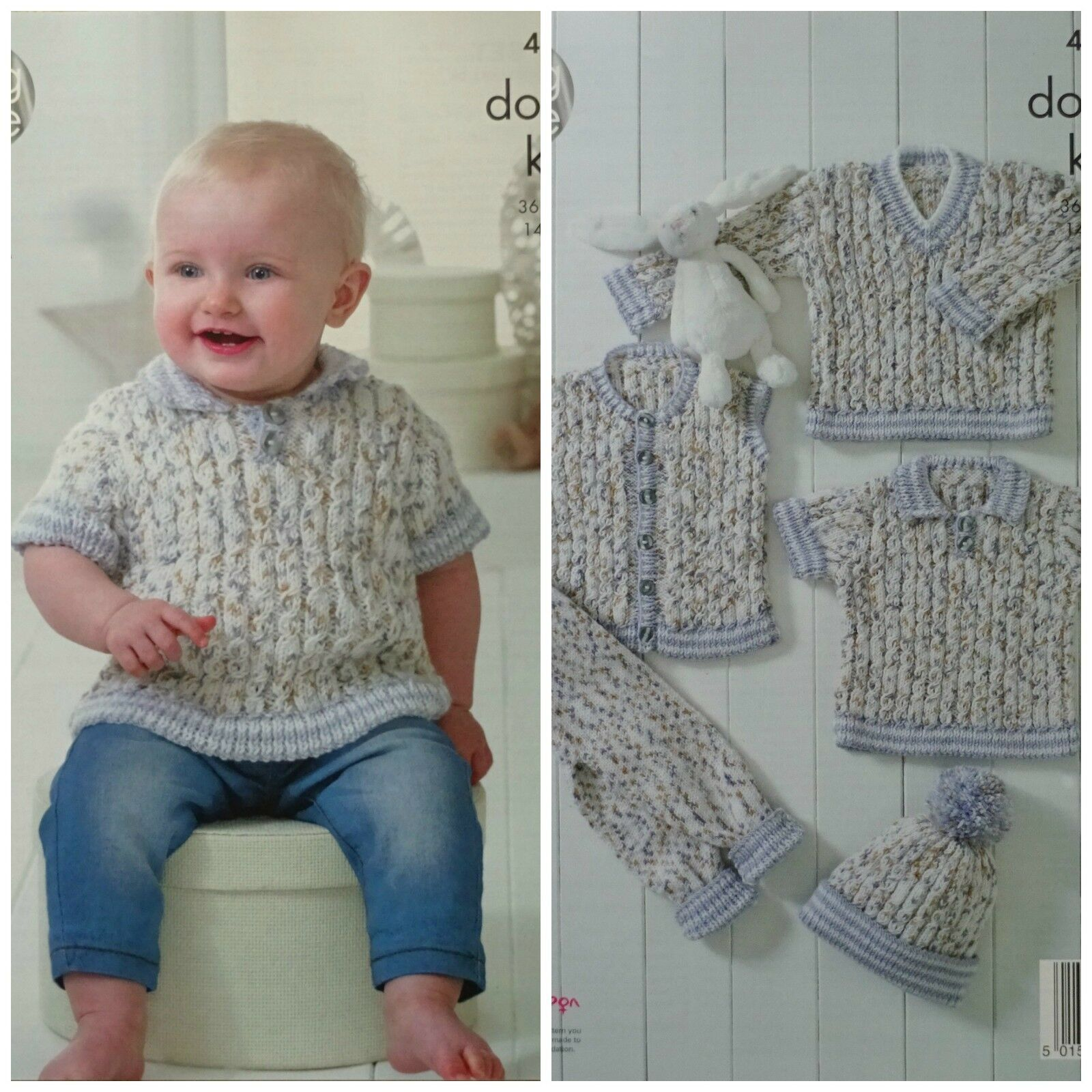 KNITTING PATTERN Baby Cable Jumpers Leggings Hat Waistcoat DK King ...