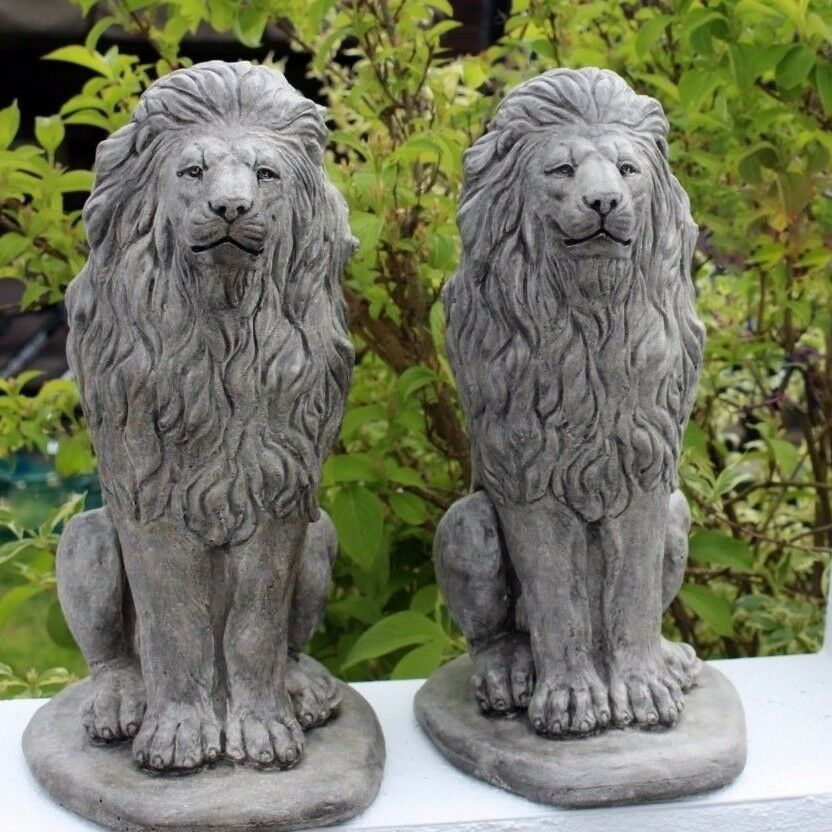 Stone Lion Statues, All Weather Gatepost Lions, Pair Of Elegant Garden  Ornaments 1 Of 6Only 1 Available ...