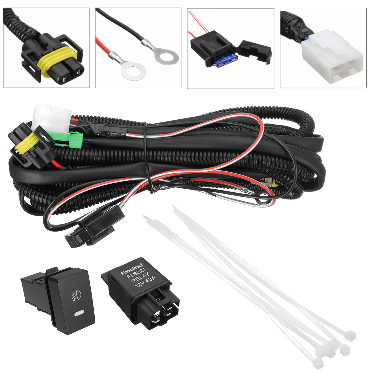 H11 Fog Light Wiring Switch Relay Harness Sockets Wire Led Indicator 1 Of 11only 0 Available