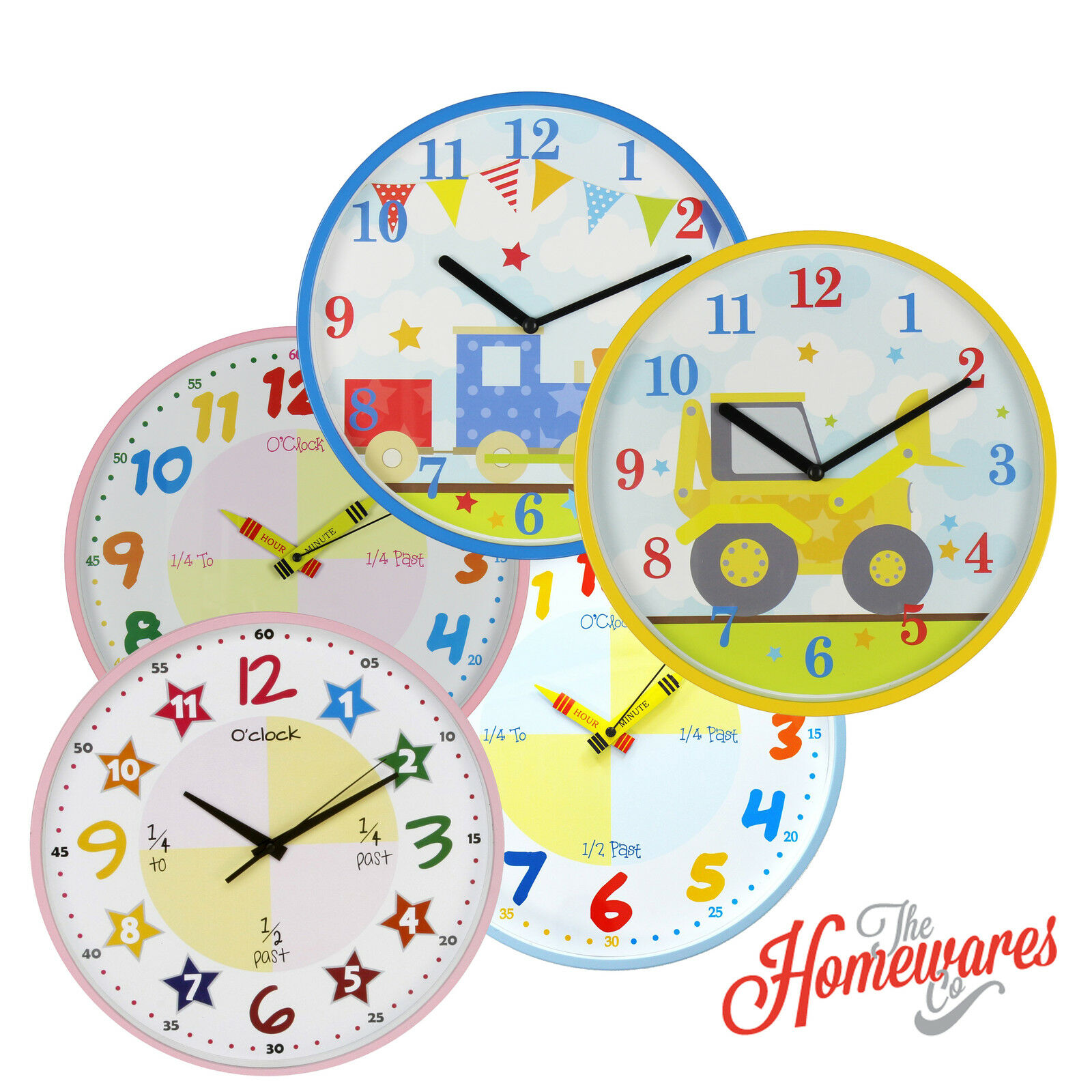 HOMETIME COLOURFUL CHILDREN Teach the Time Wall Clock - £11.50 ...