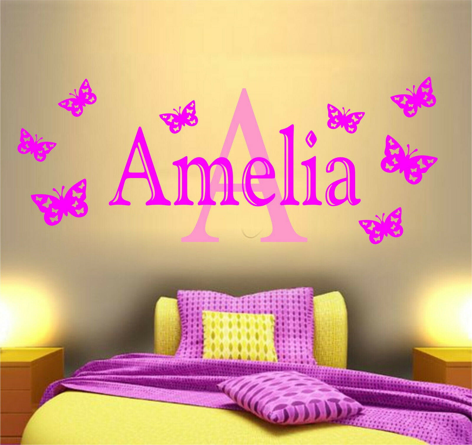 PERSONALISED NAME BUTTERFLY Wall Art Sticker Girls Bedroom Decor ...