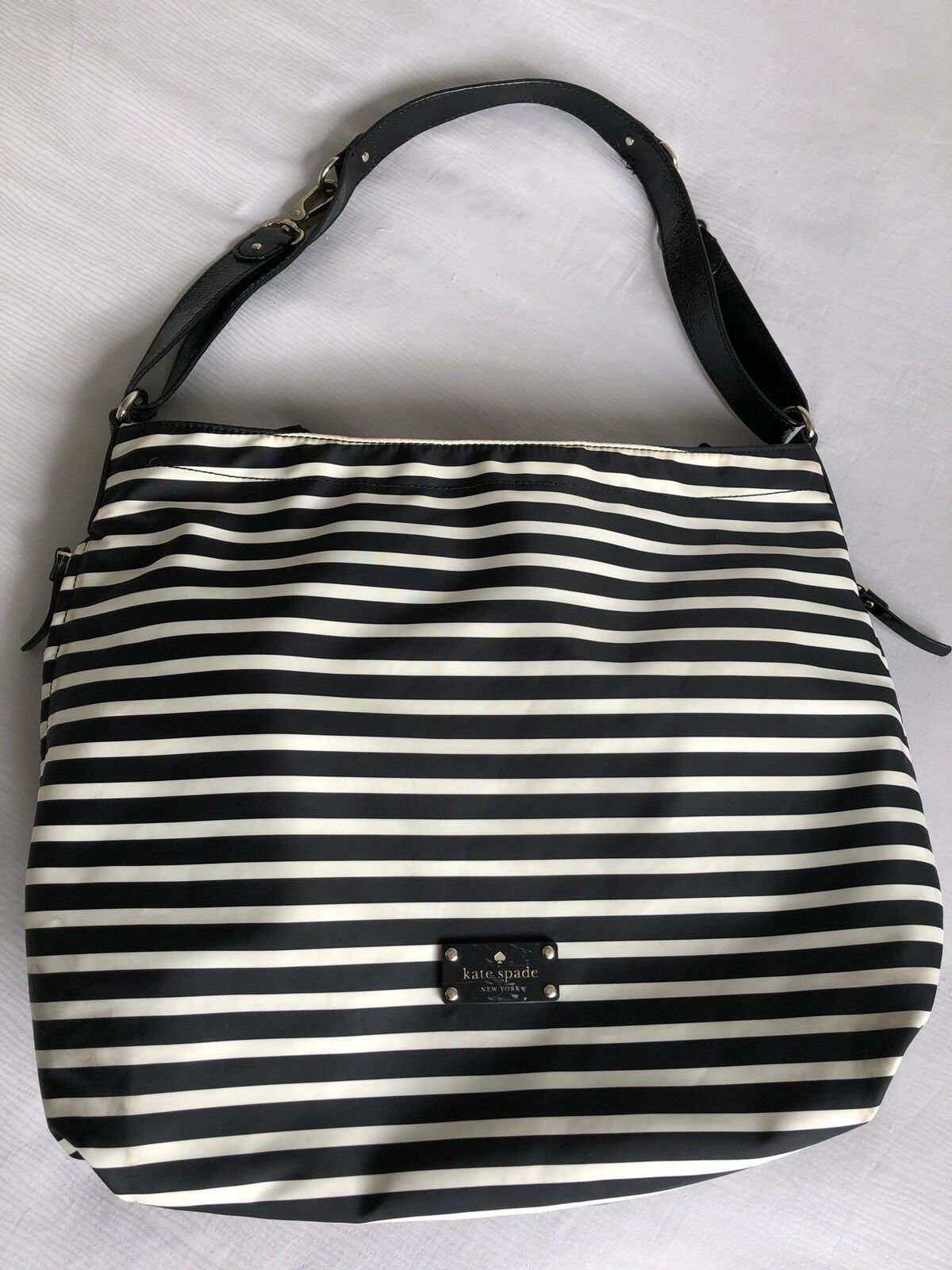 Kate Spade Large Baby Diaper Bag Black White Stripe With Extras Katespade Taden 1 Of 11only Available