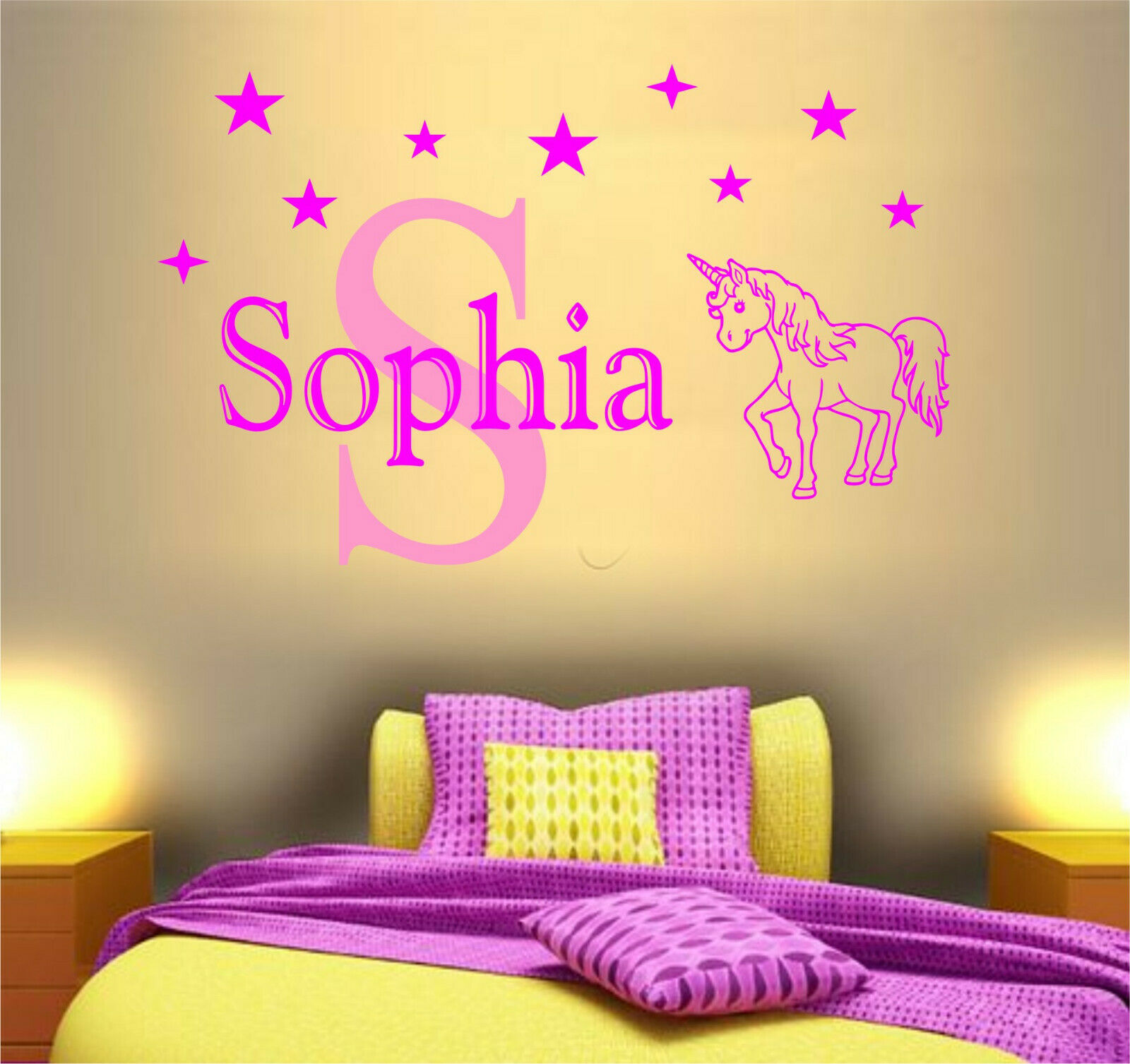 PERSONALISED NAME WITH Unicorn Wall Art Sticker Quote Girls Bedroom ...