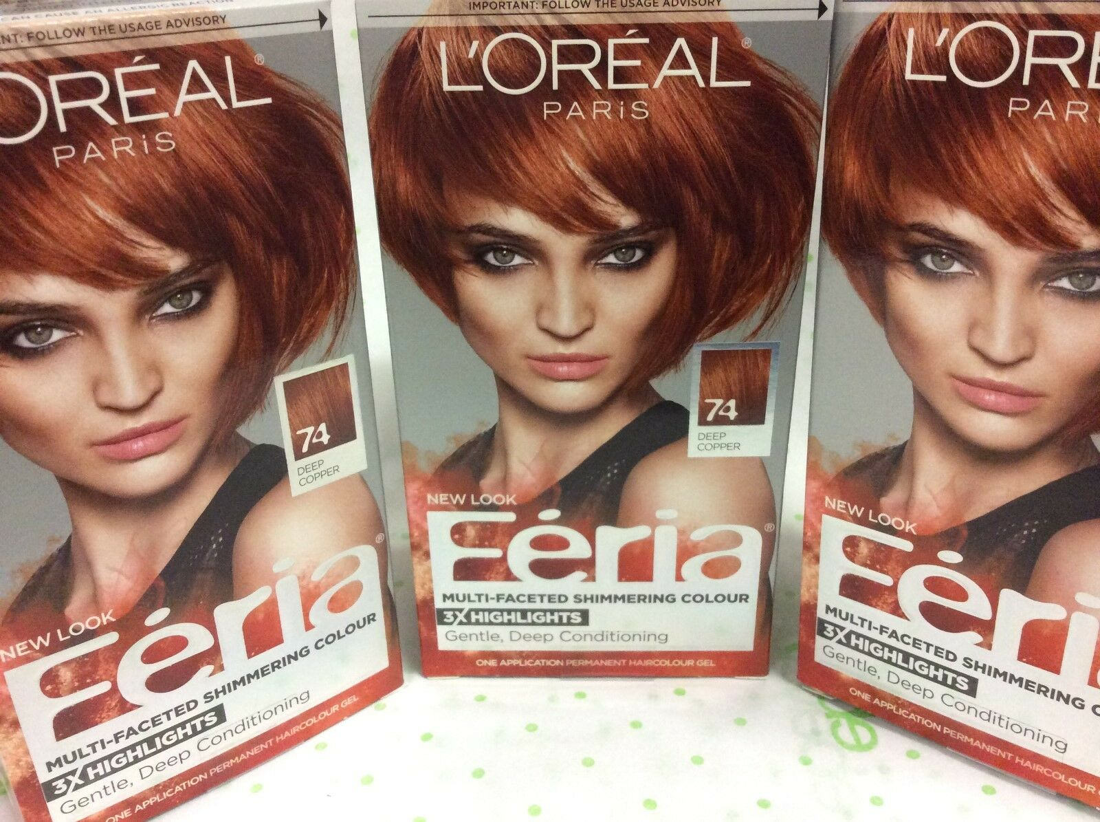 Lot Of 3 Loreal Feria Multi Faceted 74 Copper Shimmer Deep Copper