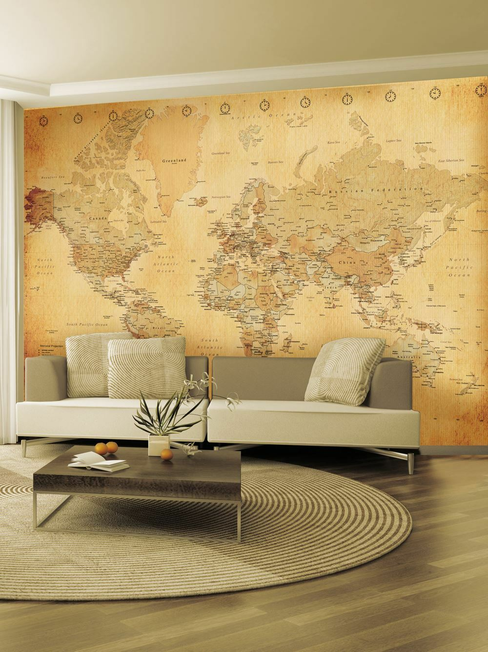 VINTAGE WORLD MAP Continents Wall Mural Photo Wallpaper Old Free P+P ...