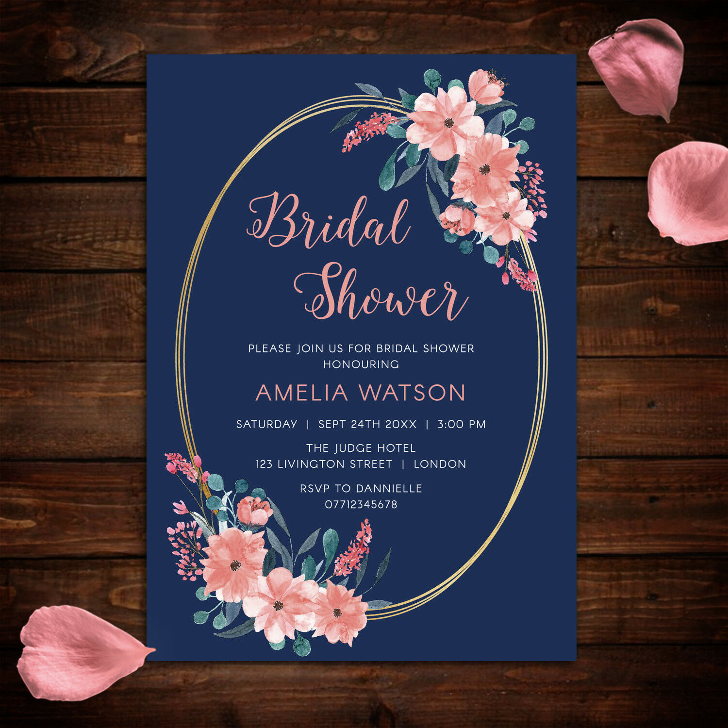 Bridal shower invitations floral navy and pink theme pack of 10 a6 1 of 1free shipping filmwisefo