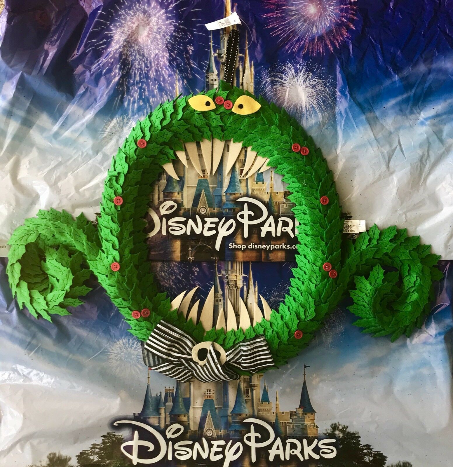 disney parks nightmare before christmas haunted wreath hanging door decoration 1 of 4only 1 available