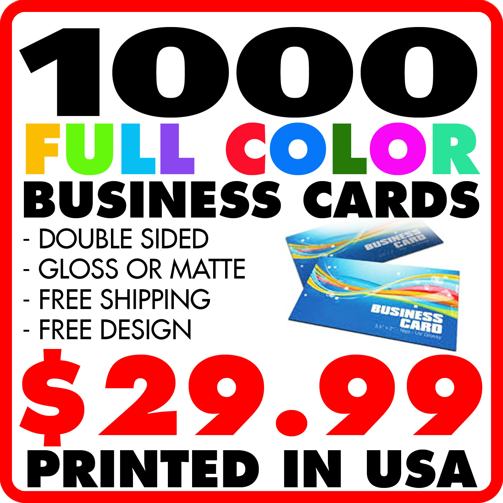 1000 Custom Full Color Business Cards Free Design Shipping 1 Of 1free