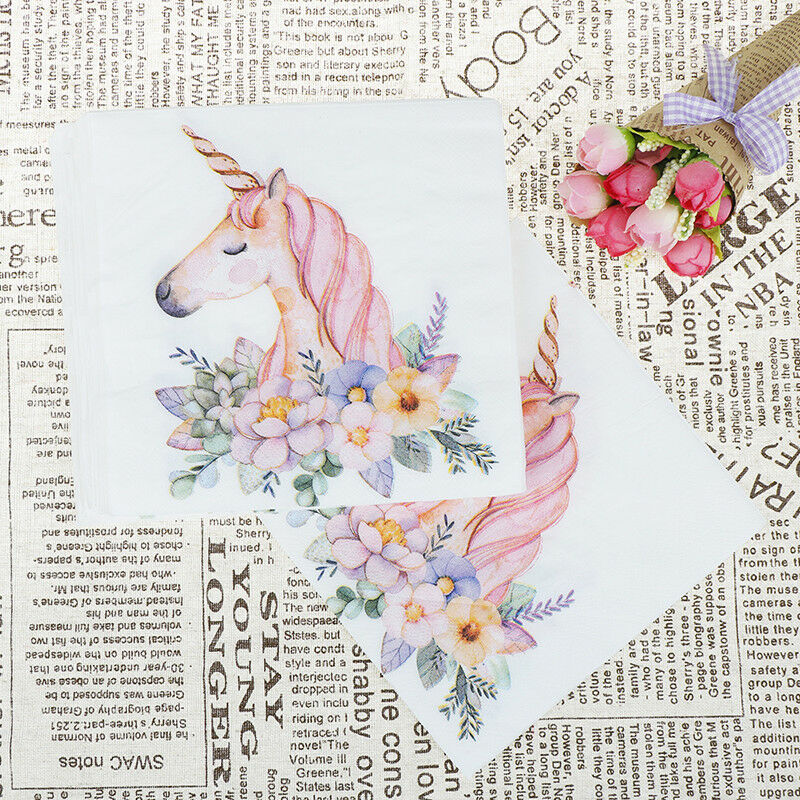 20x Unicorn Head Paper Napkins For Kids Birthday Wedding Party Tissue Uk 1 Of 1free Shipping See More