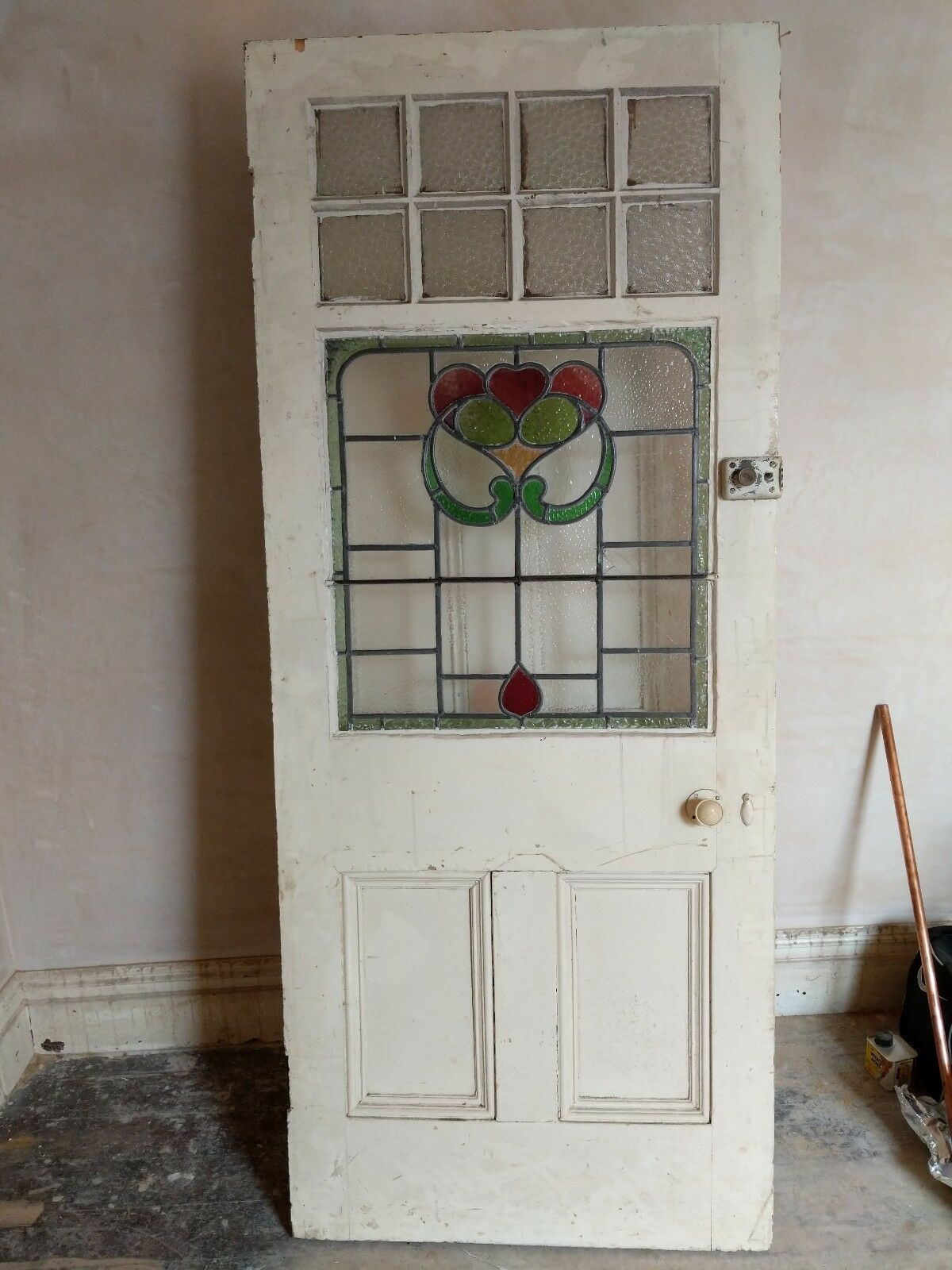 Antique Victorian 1800s Front Entrance Doors Stained Glass Lead