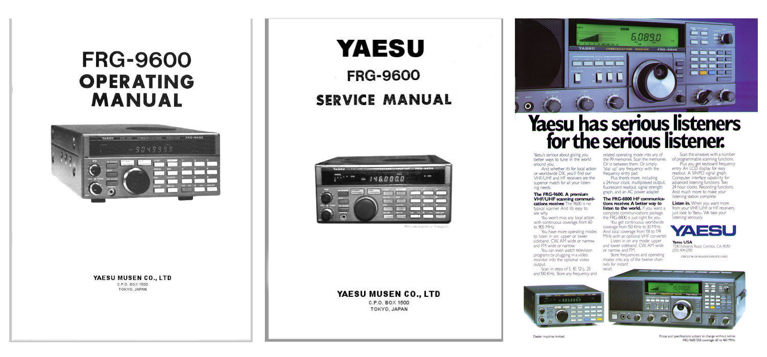 OPERATING + SERVICE MANUALS + AD for the YAESU FRG-9600 COMMUNICATIONS  RECEIVER 1 of 1 See More