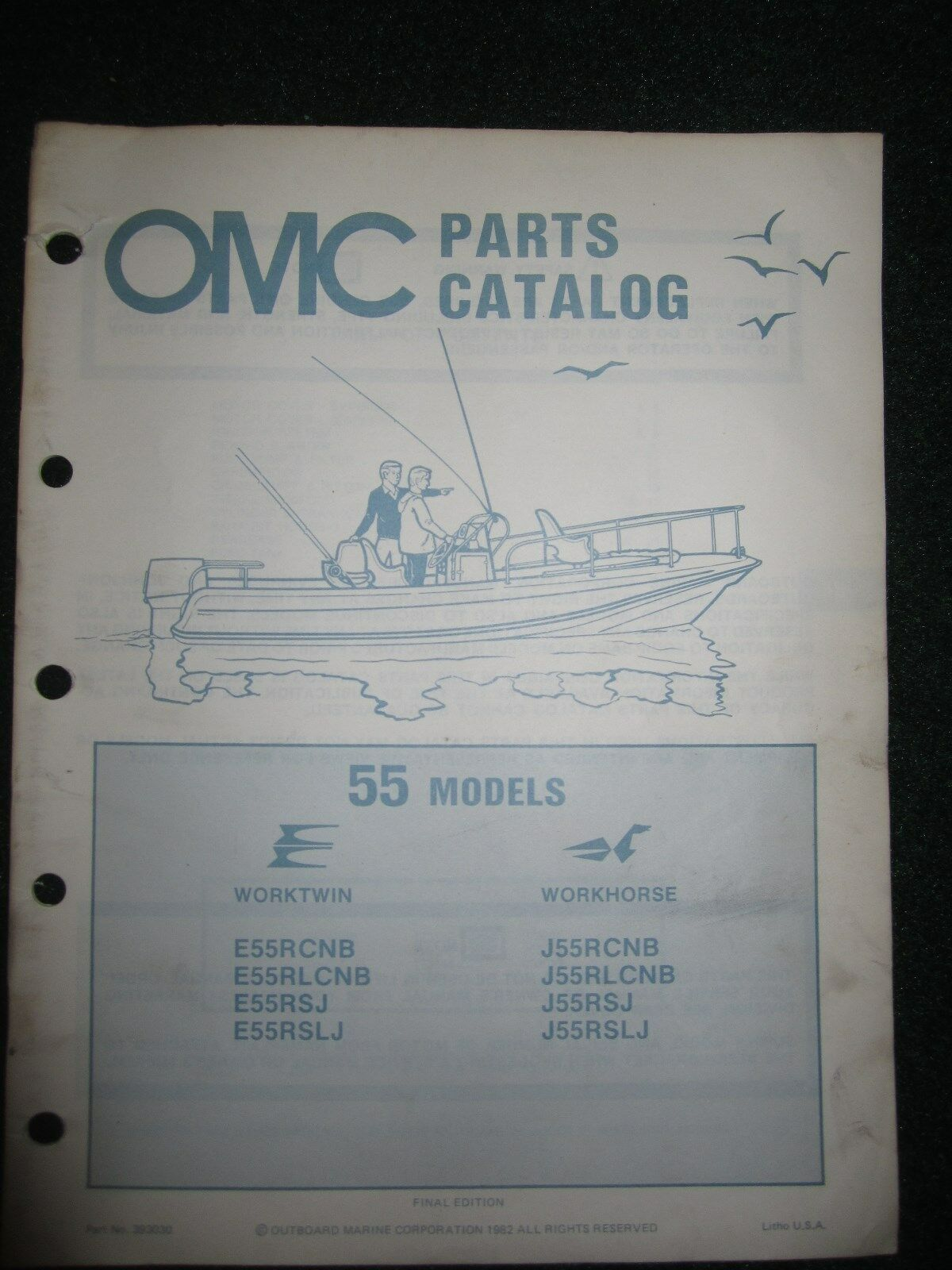 1982 OMC Johnson Evinrude Outboard Parts Catalog Manual 55 HP Worktwin  Workhorse