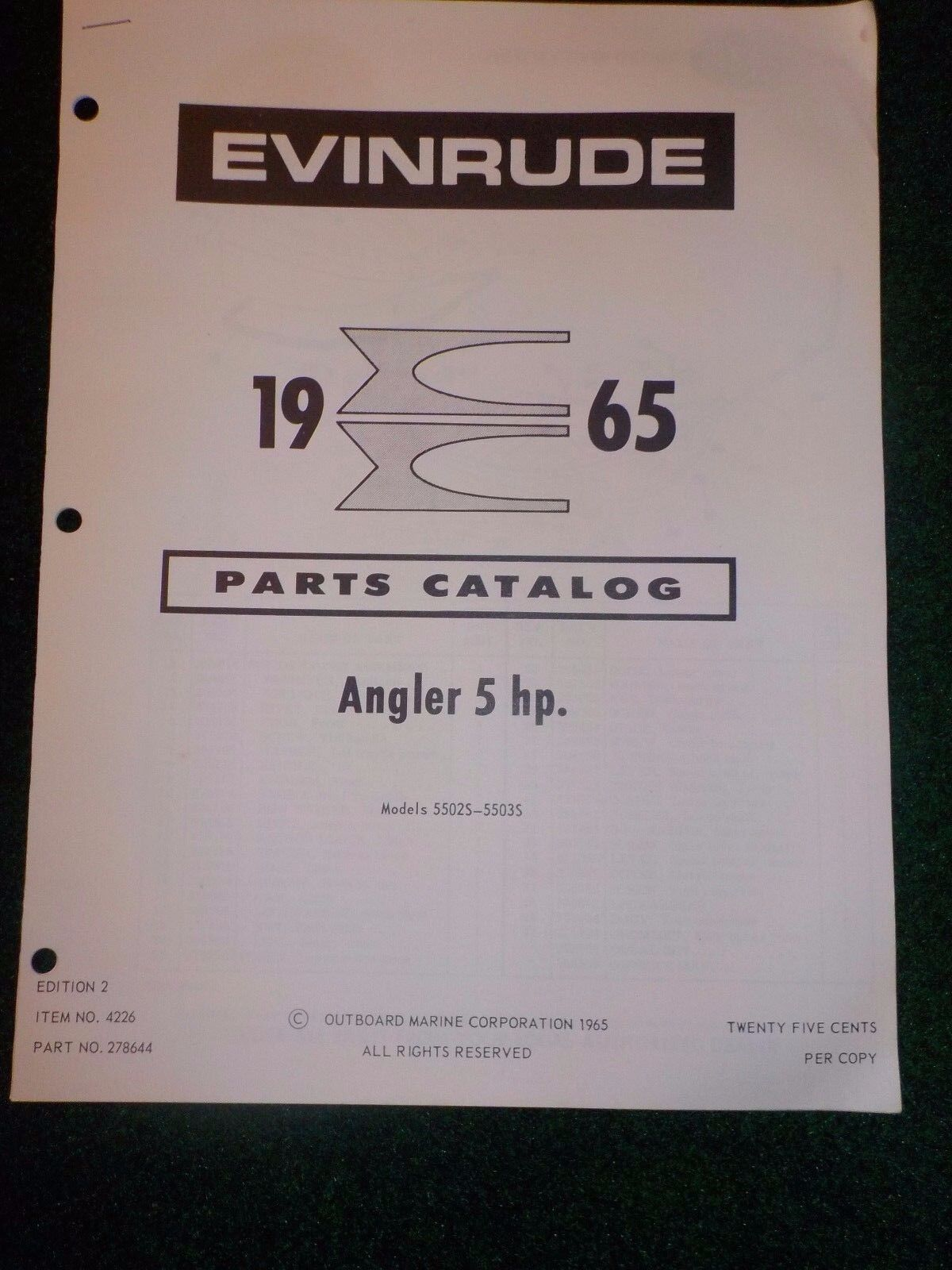 1965 OMC Evinrude Outboard Parts Catalog Manual 5 HP Angler 5502S-5303S  DEALER 1 of 3 See More