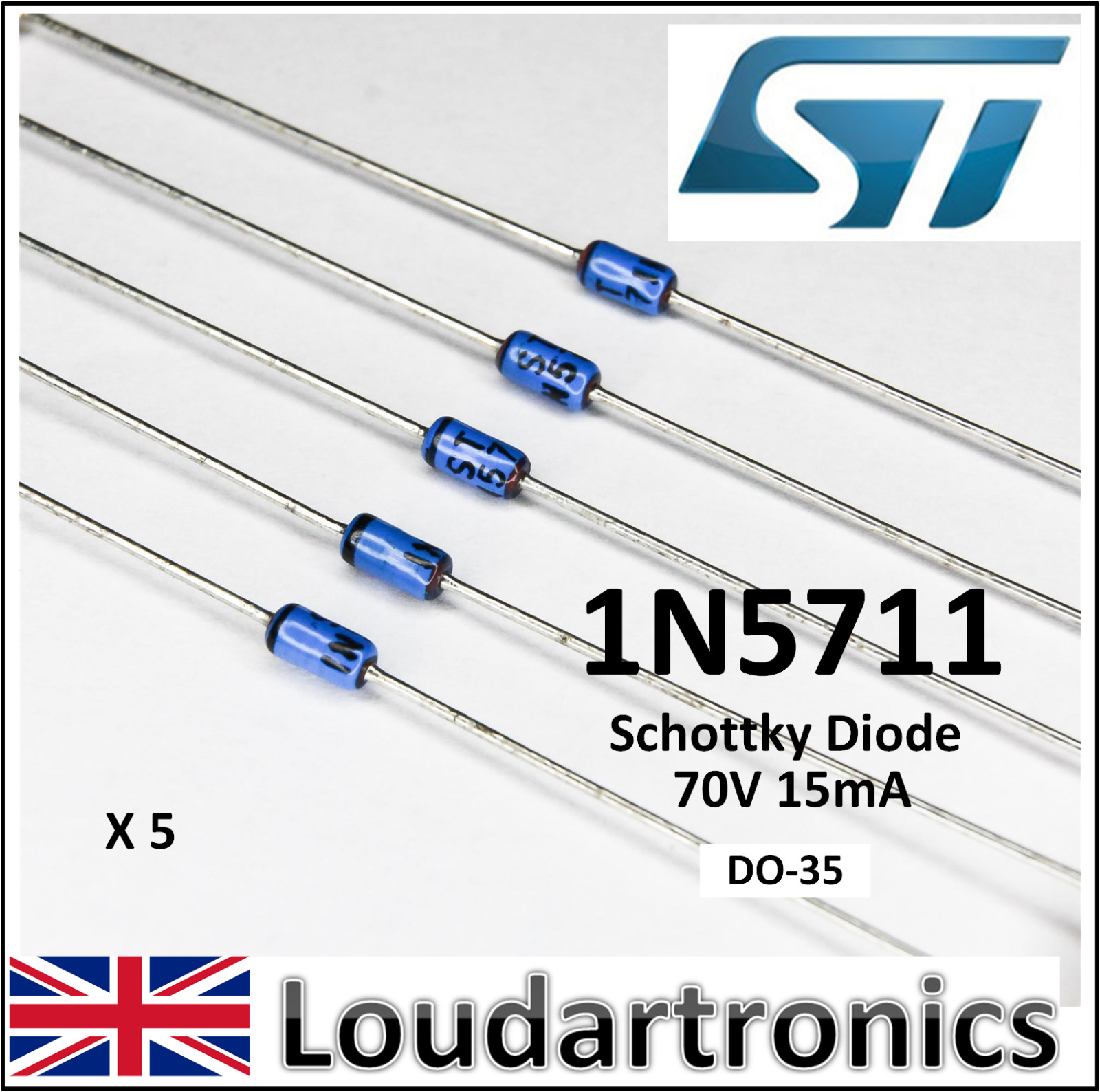 Stmicroelectronics 1n5711 70v 15ma Schottky Diode 175 Picclick Uk Diodes Pin Smd Switching Rectifier 1 Of 1free Shipping