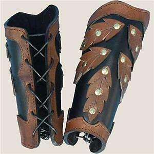 FANTASY Elven Leaves Leather ARM BRACERS VAMBRACE ARMOR