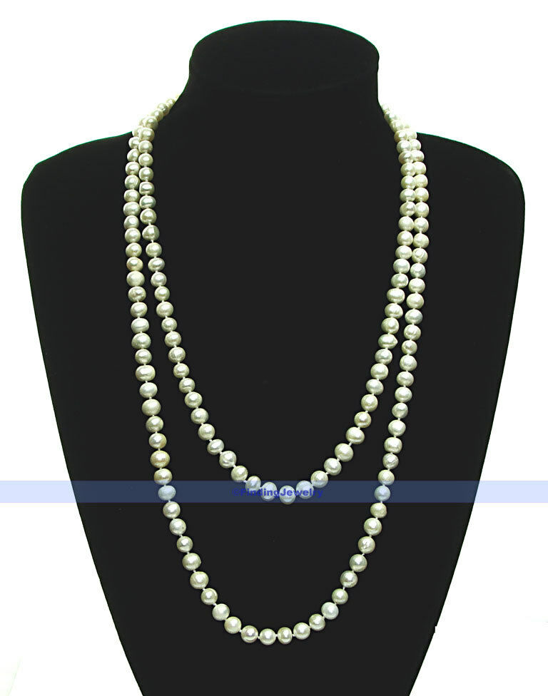 Long 50 Amp 7mm Genuine Freshwater White Pearl Necklace