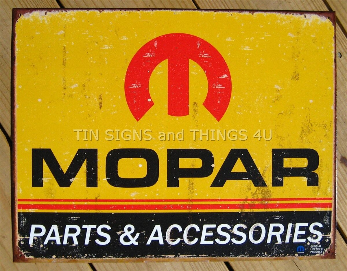 Mopar rustic logo 1964 1971 tin sign vtg metal wall decor for Plaque w garage assurance