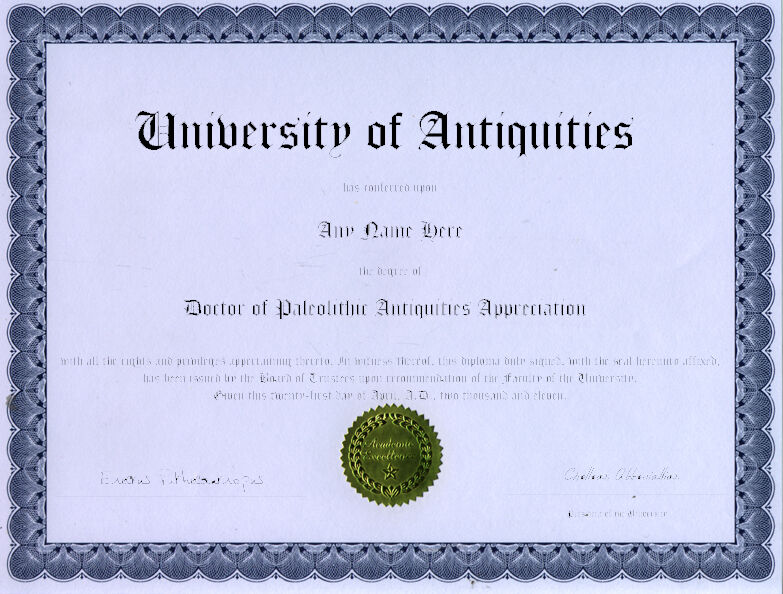 Doctor Paleolithic Antiquities Appreciation Diploma