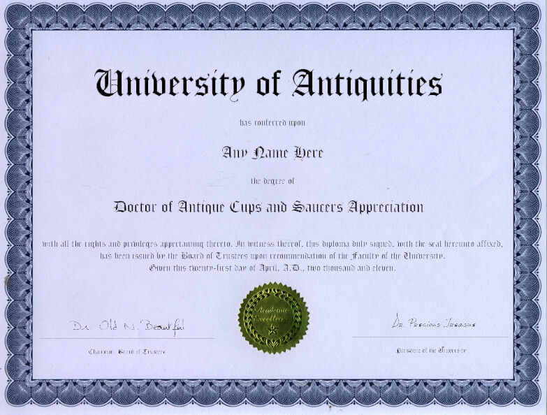 Doctor Antique Cups and Saucers Appreciation Diploma
