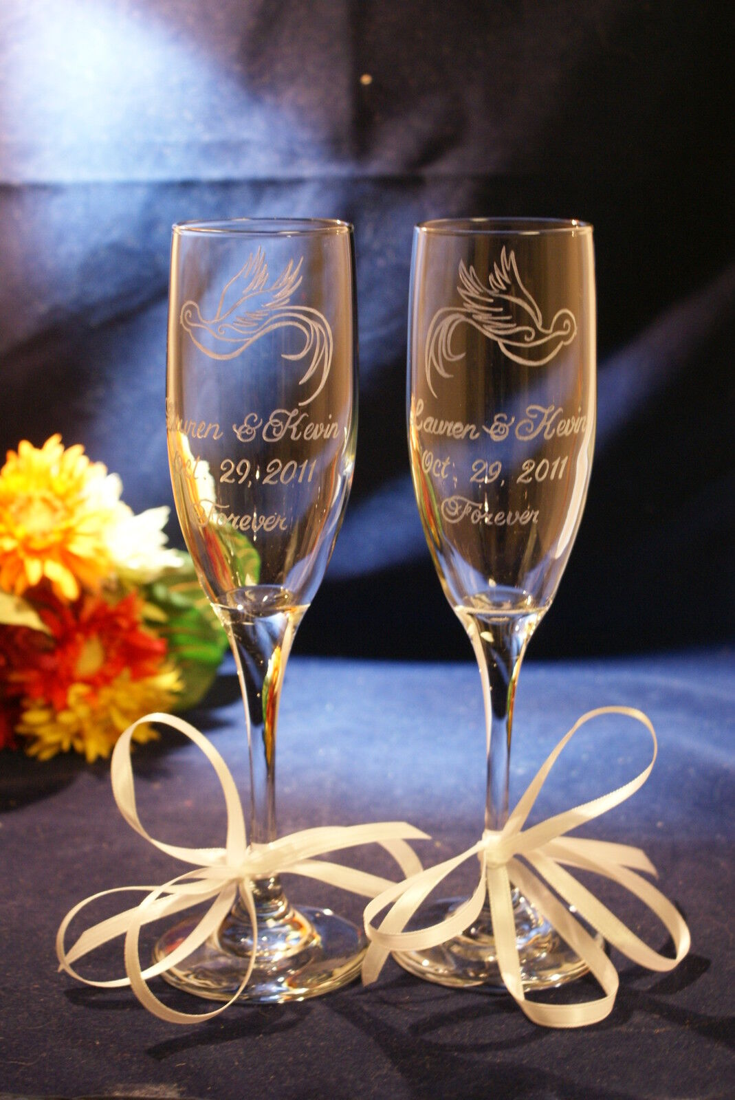 2 Personalized Engraved  Wedding Champagne Toasting Flutes with Custom Design