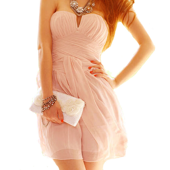 New women's girl's  PINK Strapless Cocktail Party Club evening Races Dress