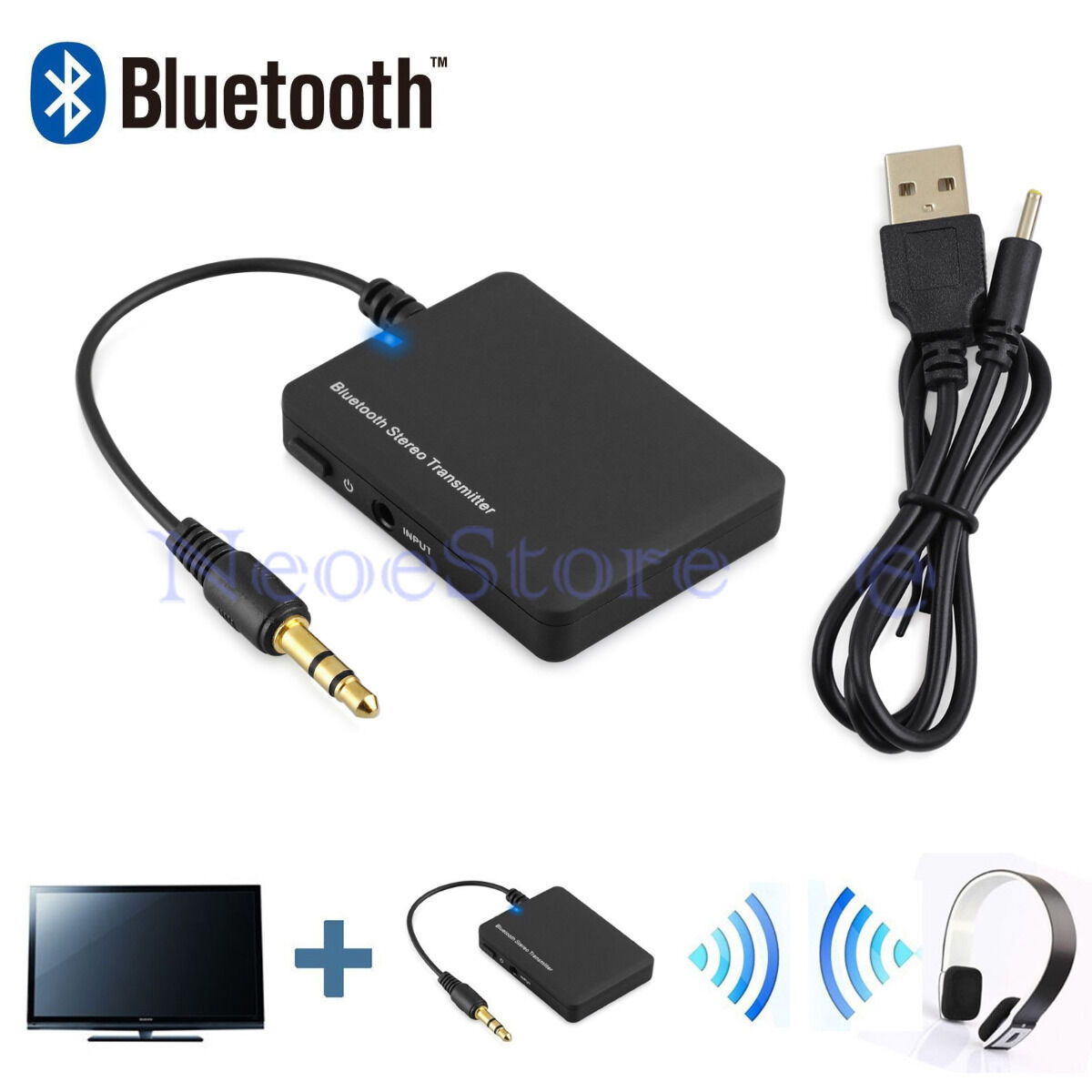 BLUETOOTH Audio Music Transmitter 3.5mm Jack A2DP Stereo Adapter For PC TV MP3 - £12.95 ...