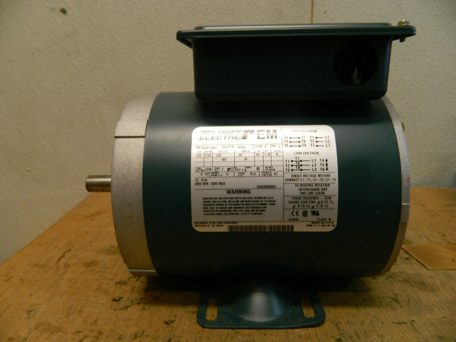 New Reliance Electric Motor P56x3166h 1 4hp 1 4 Hp 1725