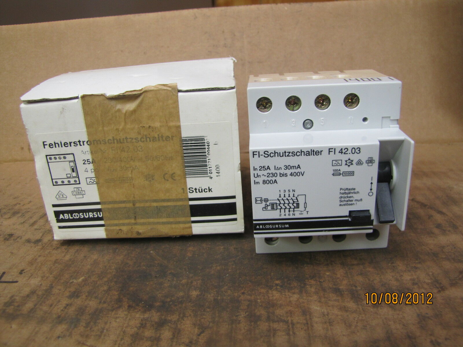 Abl Sursum Circuit Breaker Fi 4203 Fi4203 25a 25 A Amp 400v 30ma 4 House Fuse Box Amps 10000 Pole New 1 Of 6only 2 Available
