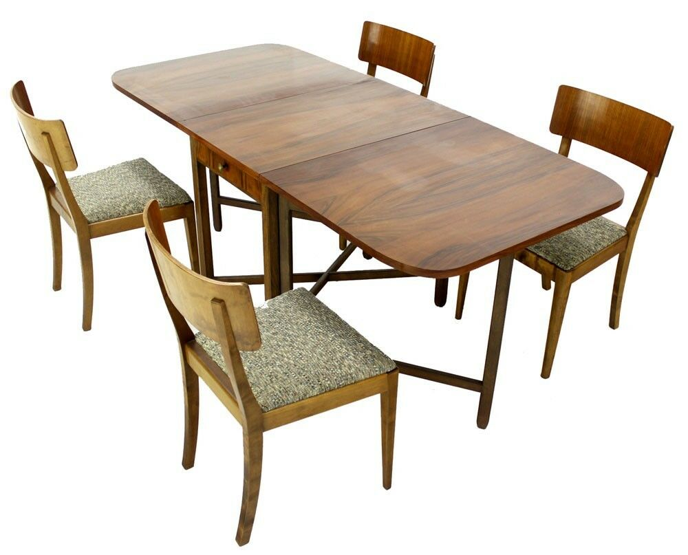 danish mid century modern drop leaf dining table 4 chairs walnut