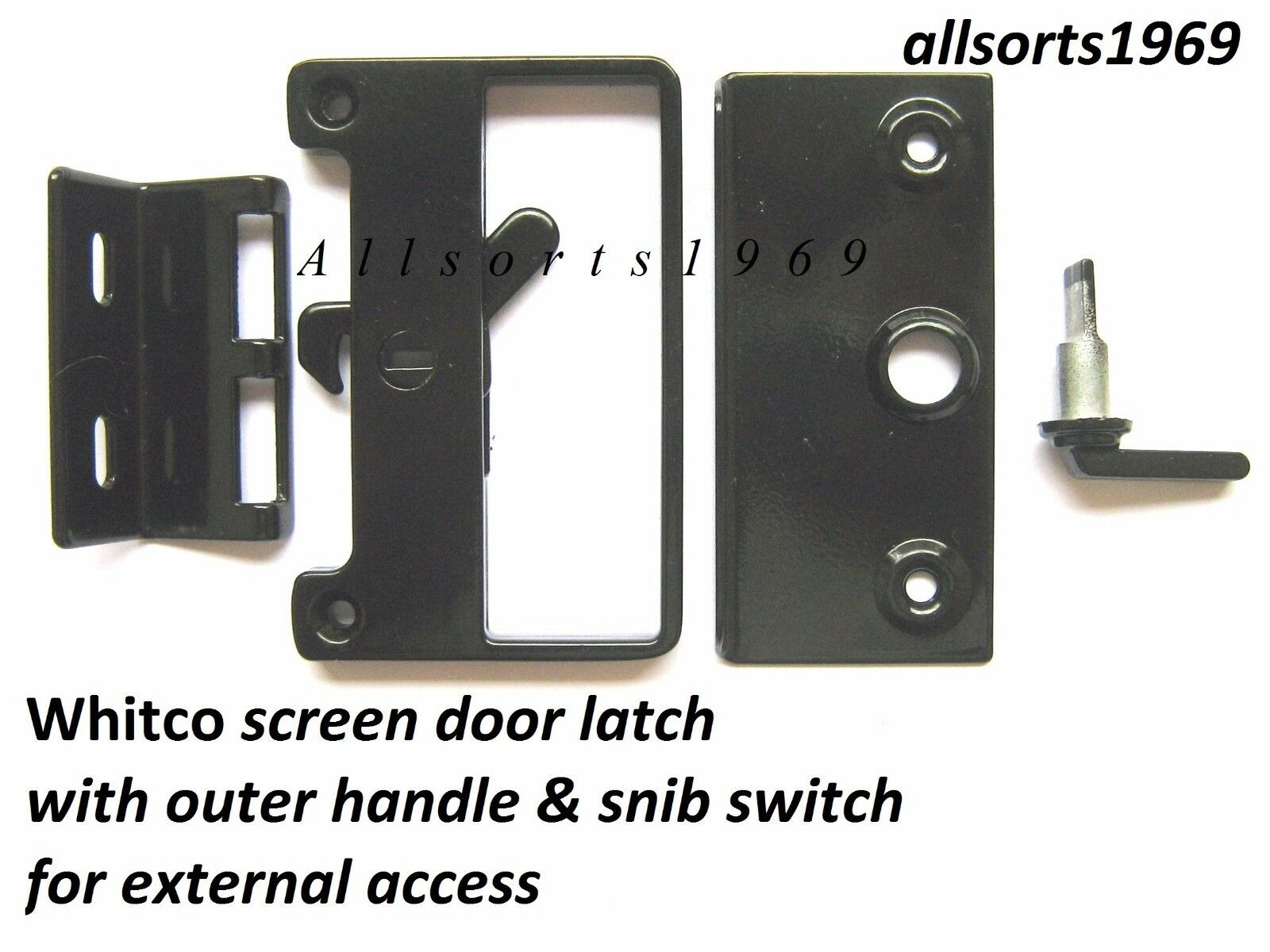 Sliding screen door lock bass latch catch with outer for Sliding fly screen door parts