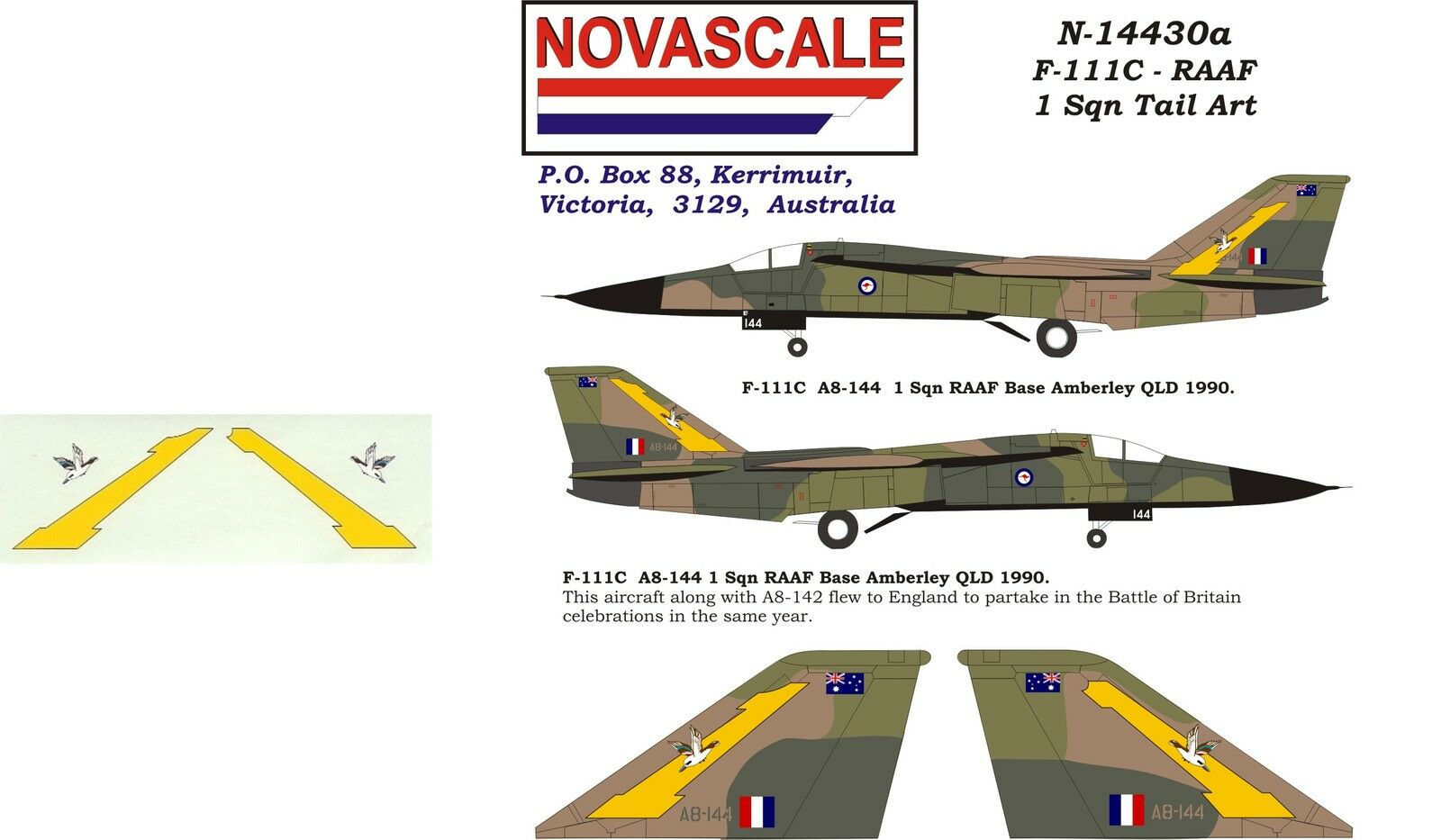 Raaf F 111c Tail Art Decals Big1 Sqn 1 144 Scale N14430a