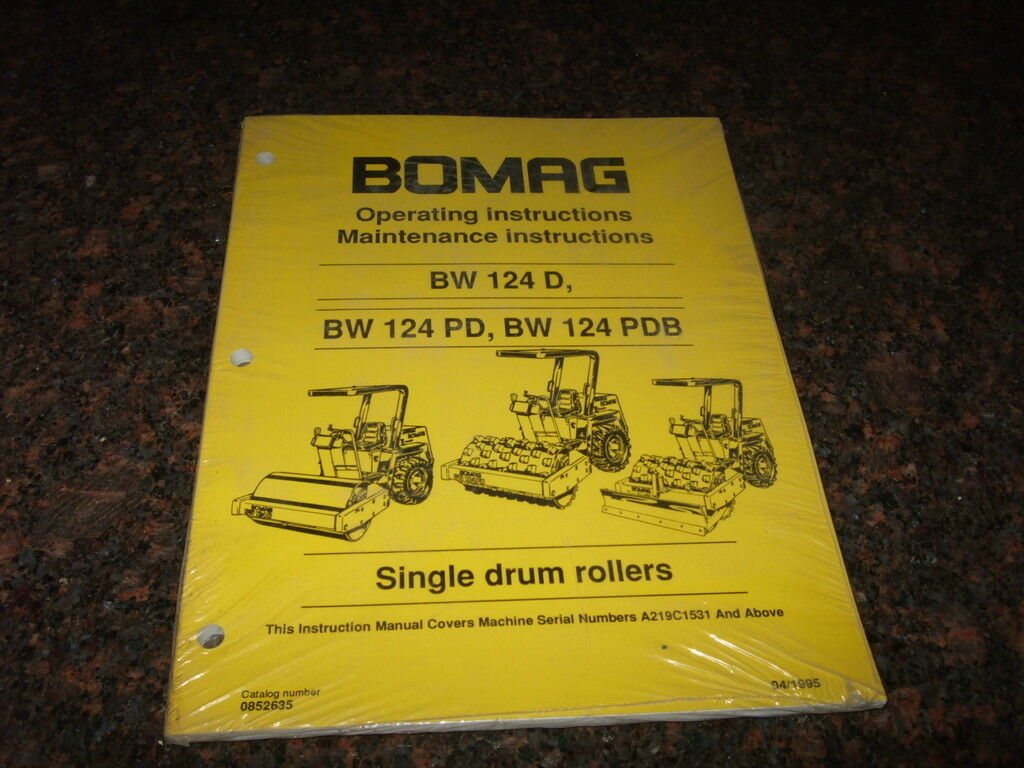 Bomag Bw 124 D/pd/pdw Operating & Maintenance Manual New 1 of 3FREE  Shipping ...
