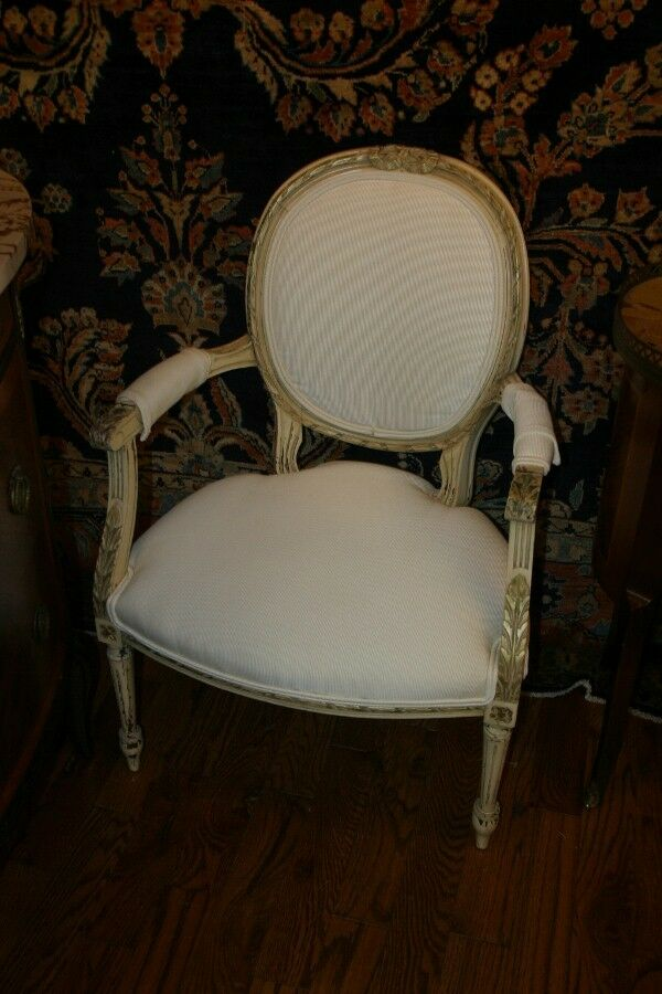 Wonderful french carved white painted french arm chair for White oval back dining chair