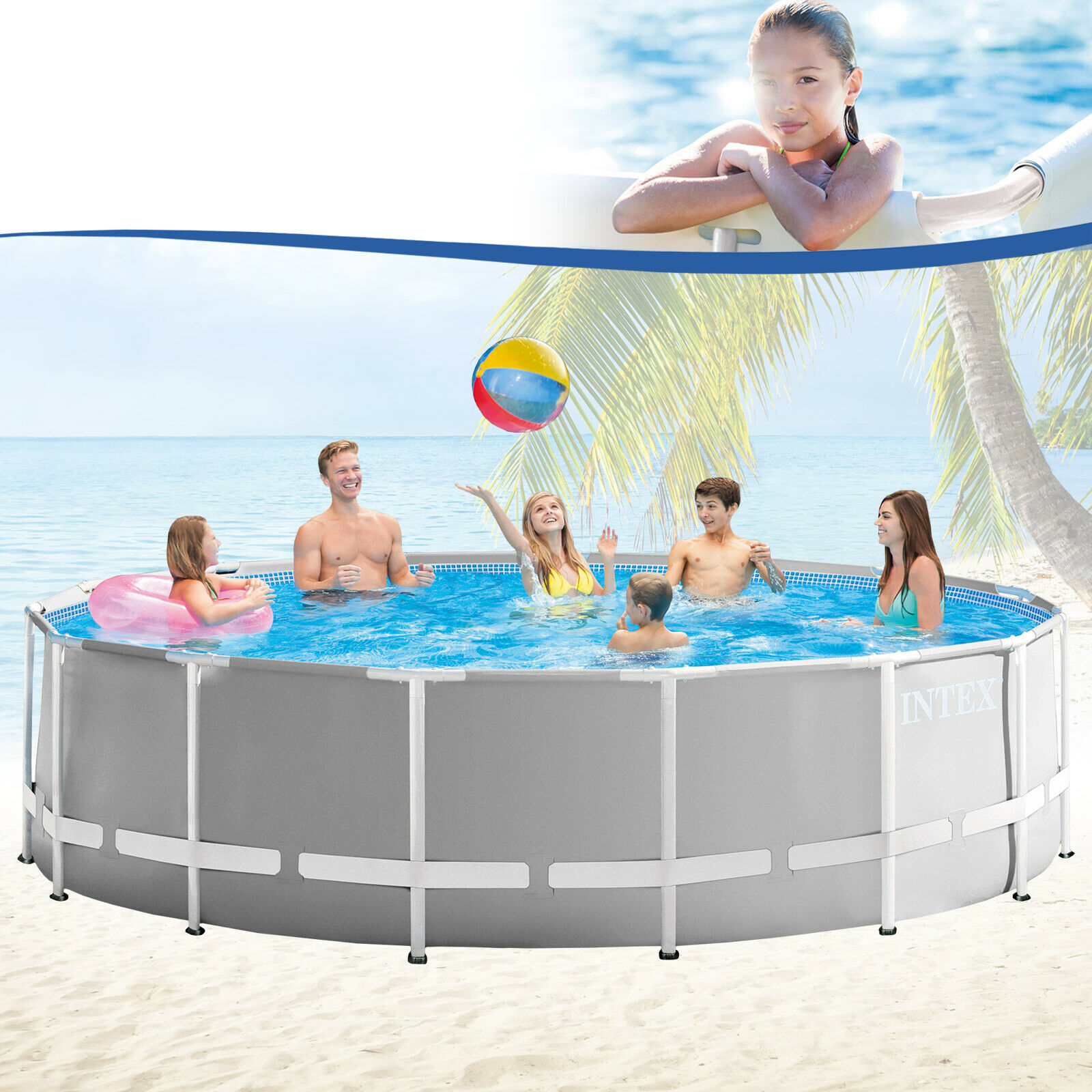 Intex 457x122 cm schwimmbecken swimming pool schwimmbad for Swimmingpool stahl