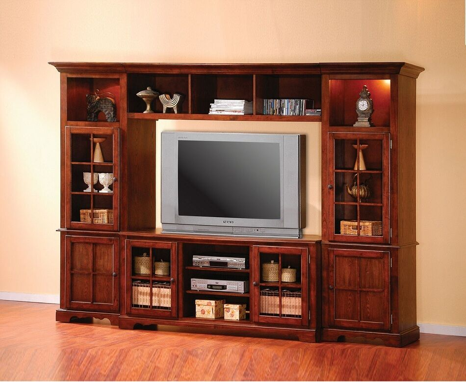 Entertainment wall unit center merlot oak traditional for Wohnwand xynto