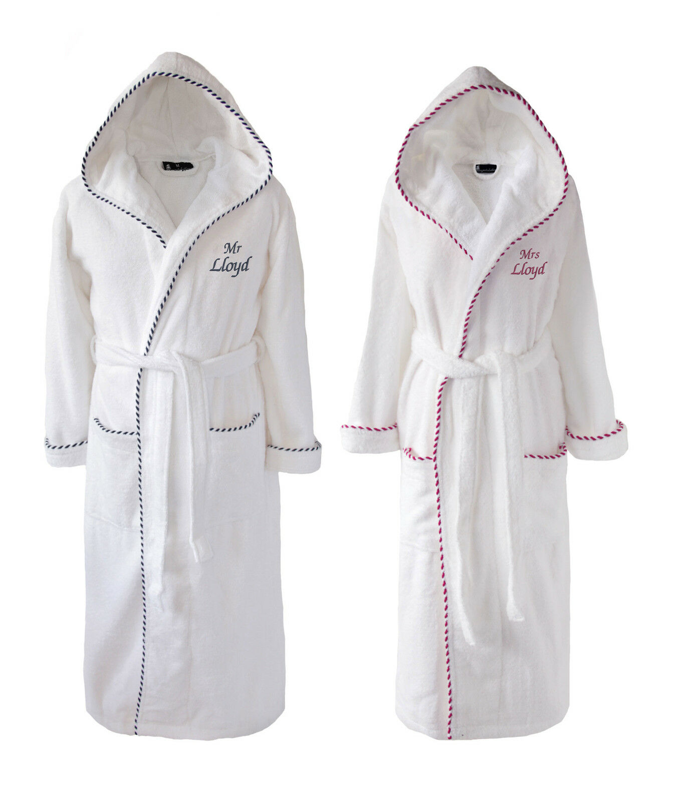 PERSONALISED MR & Mrs Set of White Bathrobes Dressing Gowns, His ...