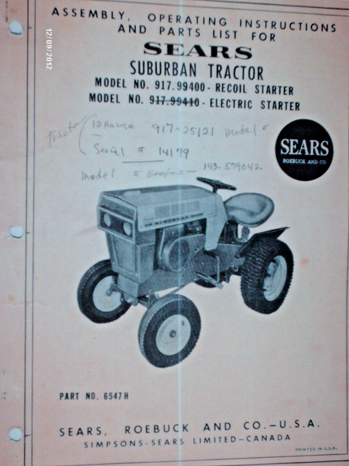 917 99400 99410 sears suburban 12 owners parts manual on cd