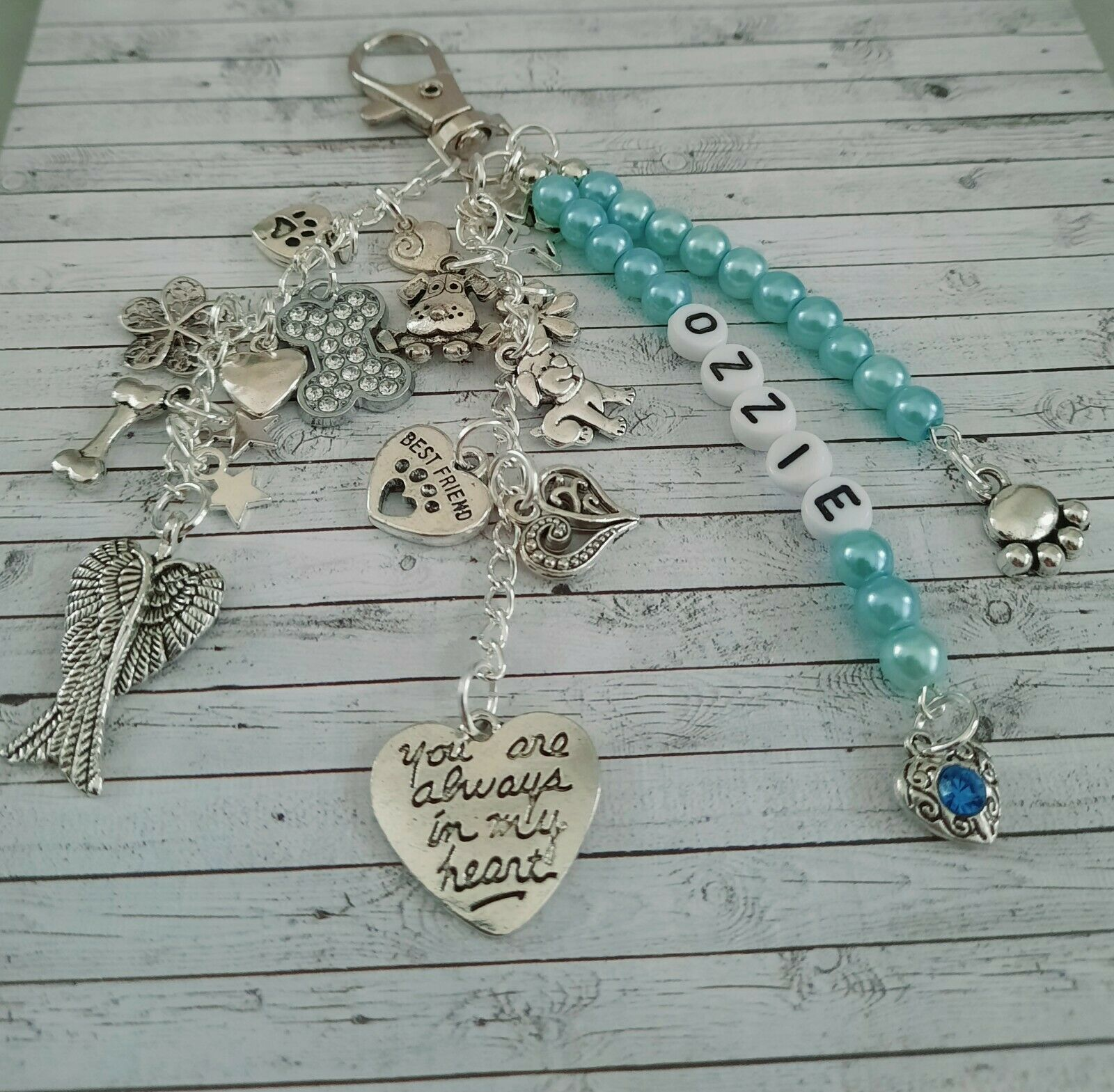 Loss of dog bag charm/keyring, you are always in my heart, angel wing