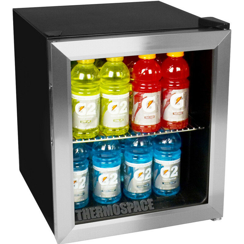 1 Of 7only Available Compact Beverage Center Glass Door Refrigerator Stainless Steel Mini Fridge New