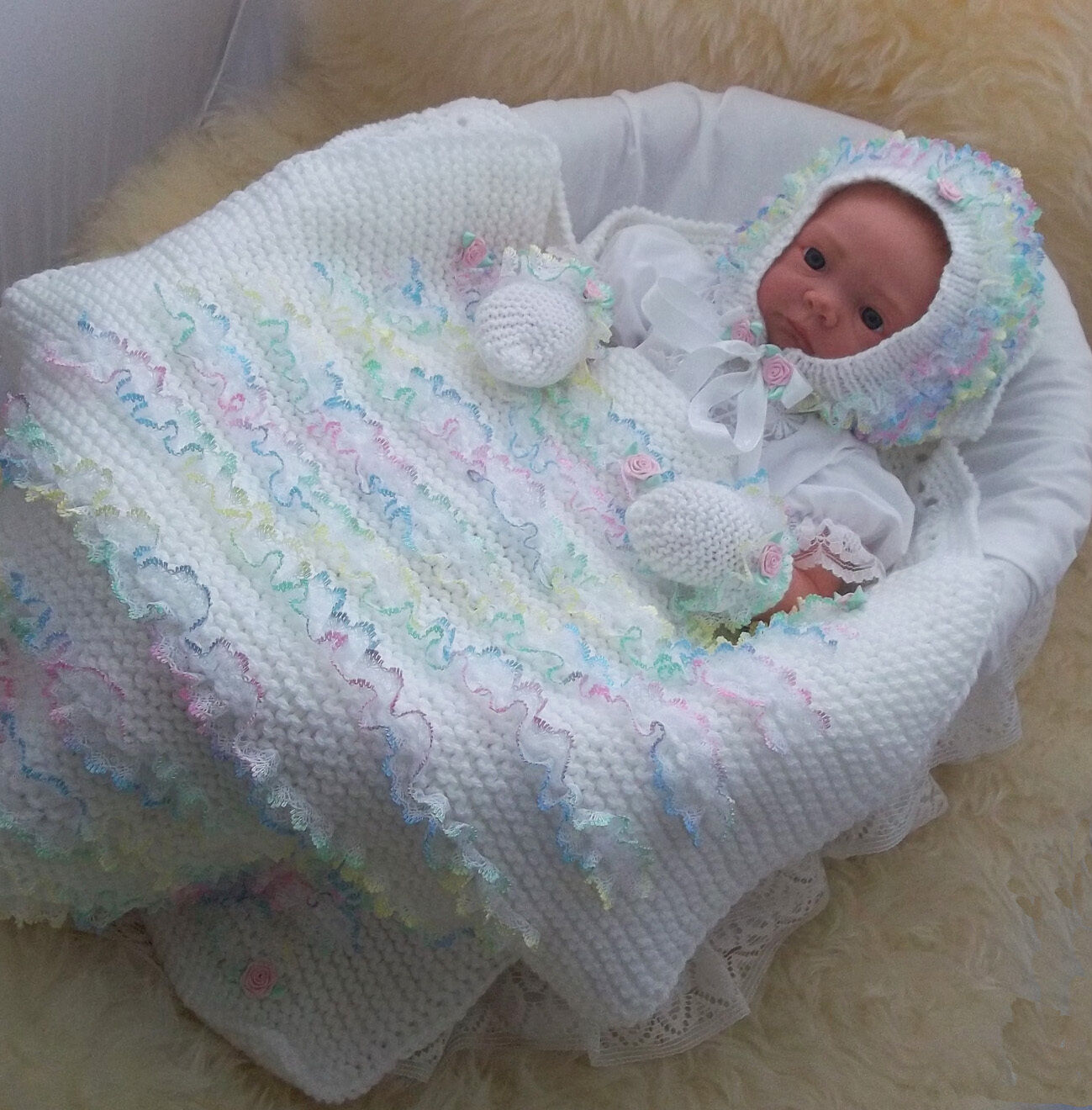 Knitting Pattern For Lace Baby Hat : Baby Knitting Pattern #41 TO KNIT Baby Girls Lace Blanket Hat & Mittens  ...