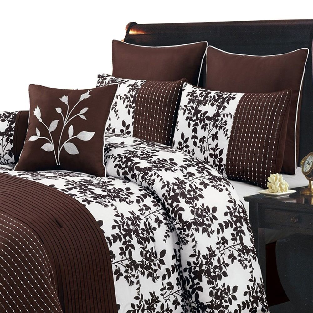 Bliss Chocolate Luxury 8 Piece Comforter Set Available In