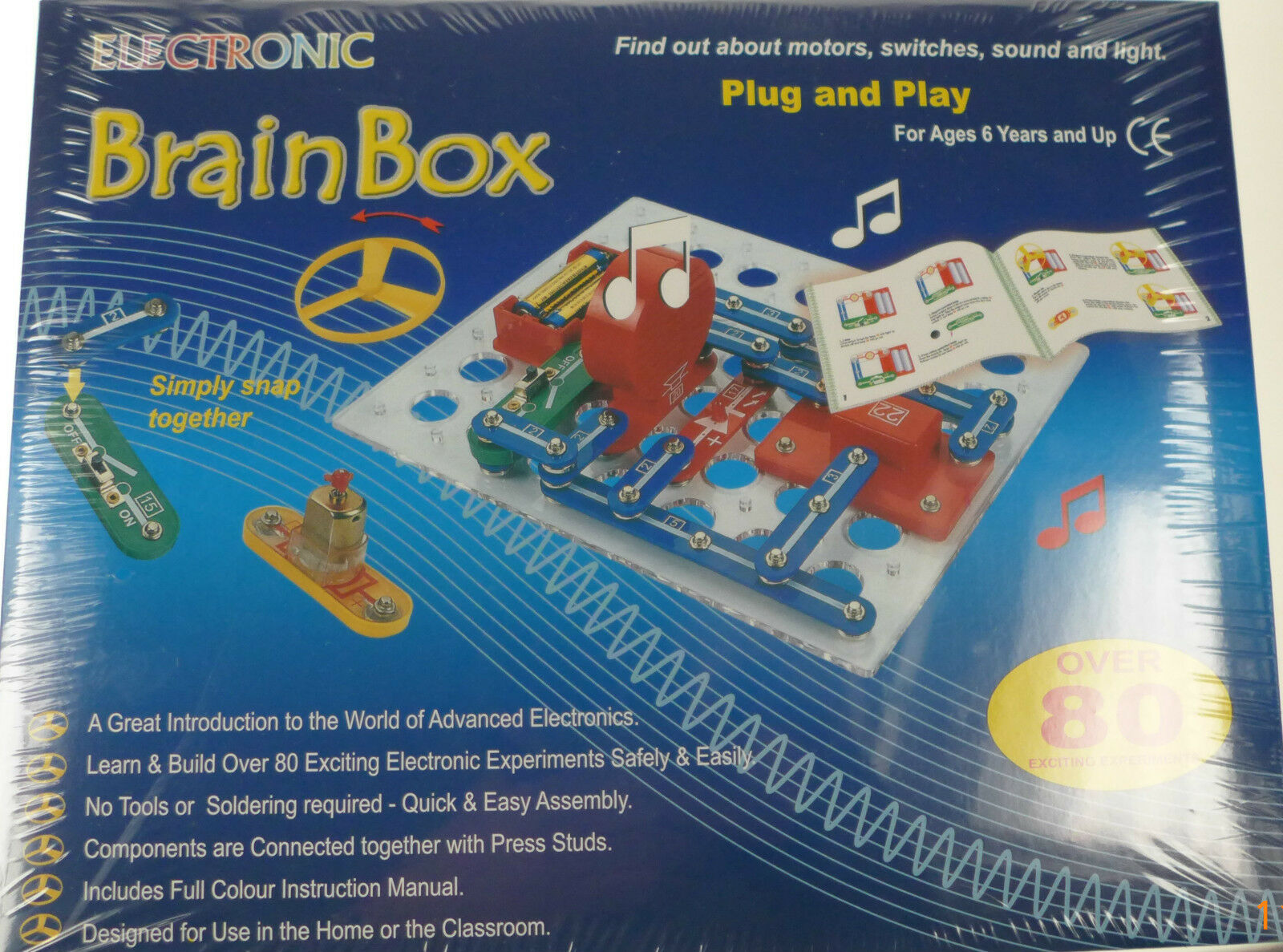 Snap Circuit Brainbox Kit Fm 80 Experiments Kids Discover Motor For Switches Lights 1 Of 9