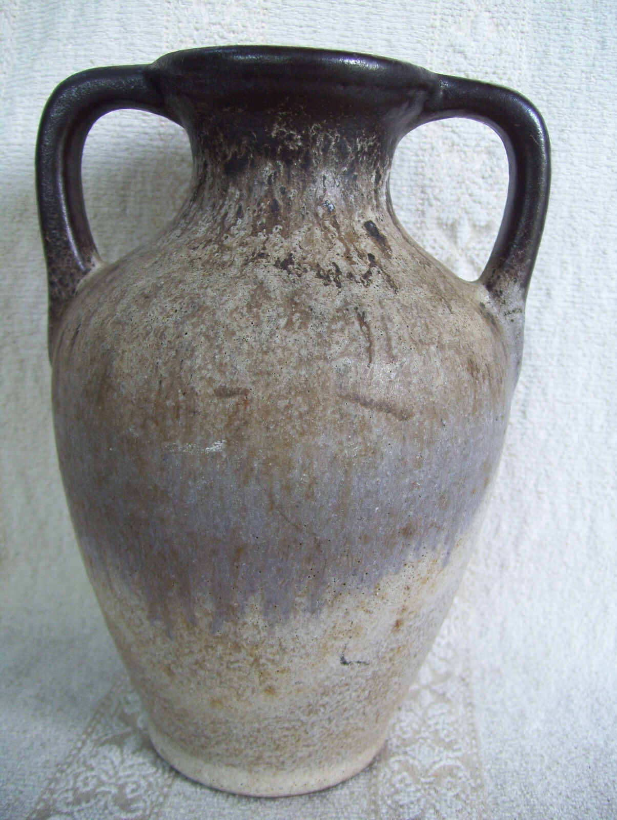 """Rare Antique Very Old 2 Handles Pottery Clay 7"""" Handmade Vase Pot"""