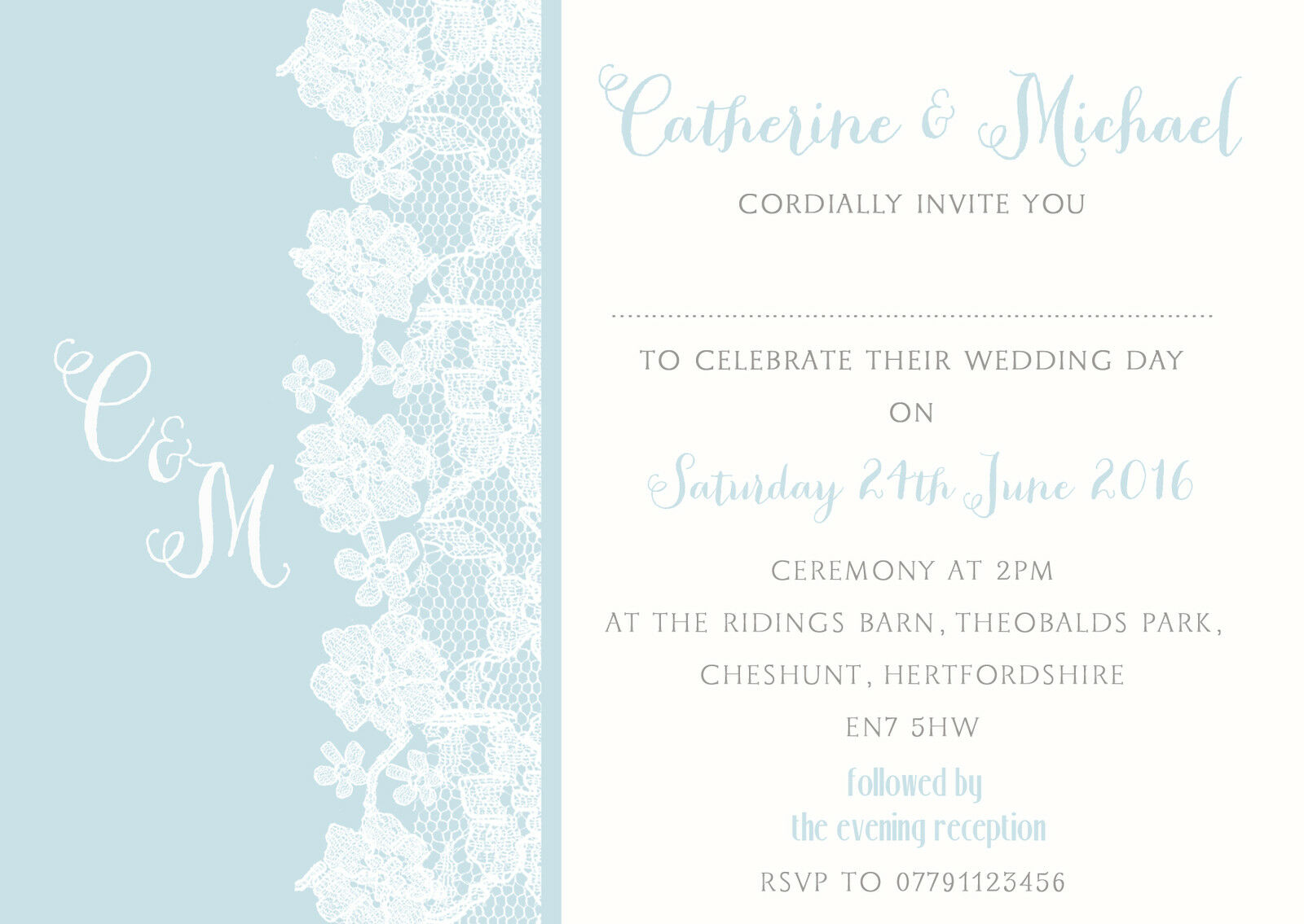 PERSONALISED SHABBY CHIC Lace Duck Egg Blue Wedding Invitations ...